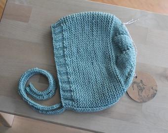 Hand Knit Size 2 Toddler Bonnet / Cap in Seafoam Merino Wool Yarn
