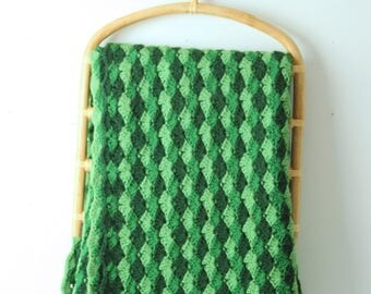 Vintage green crochet afghan, woven granny square blanket diamond pattern