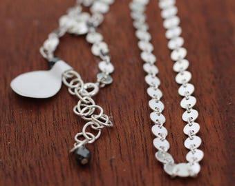 Sterling silver Circle Chain Choker. Mirror Chain Choker. Minimalist Island Jewelry. Everyday Beach Jewelry