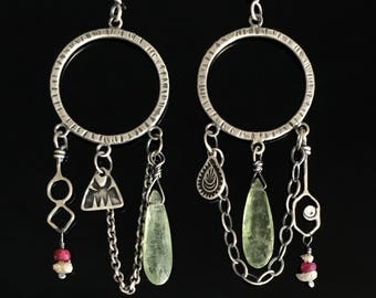 Dream Catcher Charm Earrings with Green Kyanite, Ruby and Diamond chip, Sterling Silver, Stamped, Handmade, dangle