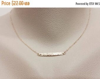 ON-SALE Hammered Bar Necklace - Gold Filled Necklace, Textured Bar, Dainty Necklace