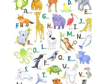 NEW ART SALE Animal Alphabet Nursery print - Abc Print Nursery - Nursery Abc Poster - Zoo Animals Alphabet