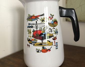 Vintage Georges Briard Enamelware Coffee Pot Stove Top Percolator