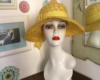 SALE Vintage Straw Hat, Wide Brim Yellow Ribbon Hat, Beach Sun Hat Garden Party