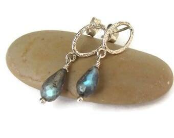 Labradorite Earrings, Earrings Gemstone Blue, Earrings Dainty Blue, Blue Flash, Blue Labradorite, Earrings Labradorite Silver