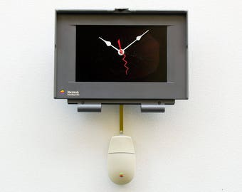 Recycled Apple Macintosh Powerbook laptop Clock, Mac gift clock, unique Apple gift, Steampunk clock, unique clock, upcycled iphone, birthday