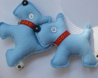 Baby Blue Christmas Ornament Doggie  Scotty Felt Charm