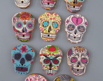 Wooden Day of the Dead Sugar Skull Buttons x 2 11 designs to choose