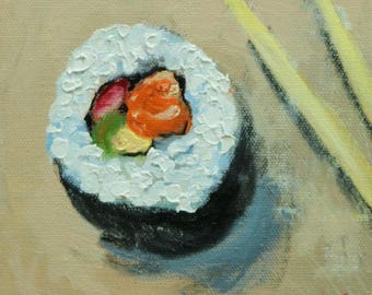 Sushi 1 still life painting 6x6 inch original oil painting by Roz