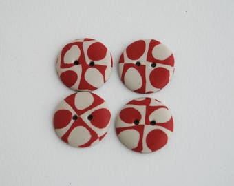 19 mm handmade patterned Buttons, Set of 4, Red and milk white