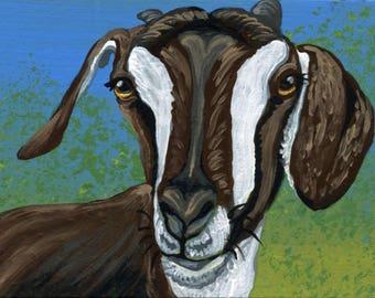 ACEO ATC Brown Goat Original Gouache Painting Farm Art-Carla Smale