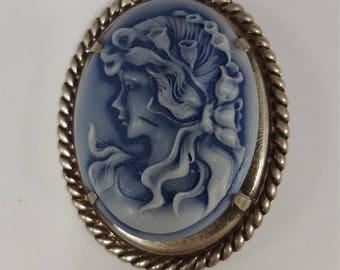 Blue Utopia Cameo Pin