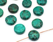 12 pcs flat round African turquoise beads, blue green semiprecious stone coin shape disk 13mm