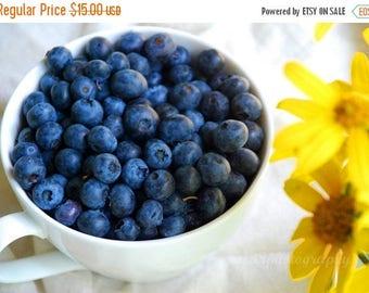 50% OFF SALE Kitchen Wall Decor - Food Photography - Kitchen Art - Yellow, Blue, Blueberries -5x7 inch Photo - Good Morning Sunshine