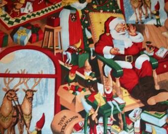 Alexander Henry Christmas 2013 100 North Pole Lane Santa quilt cotton fabric by the half yard