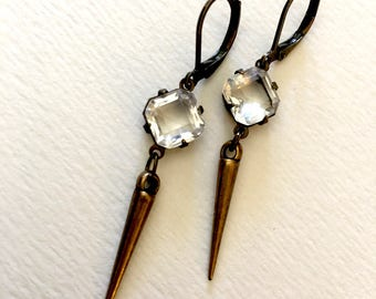 Tiny Dazzlers Sparkling Gem and Spike Earrings~small earrings~Gypsy style~hippie boho~festival jewelry