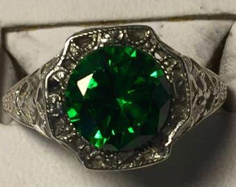 Green zircon silver ring -size 7