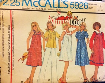 UNCUT Vintage 70's Sewing Pattern McCall's 5926 Annie Too!  Misses' Tops and Dresses  Bust 30 Size 8 Uncut Complete