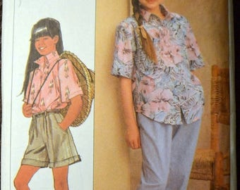 Christmas in July Vintage 80's Sewing Pattern Simplicity 9264 Girls' Shirt, Pull-on Pants, and Shorts Complete Size 7-14