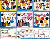 Superhero clipart sale bundle / comic book superhero clip art download, commercial use / boys girls speech bubbles, frames, buildings