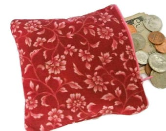 Maroon Change Purse , Pink Floral Print Zipped Money Pouch ,  Ladies Coin Wallet
