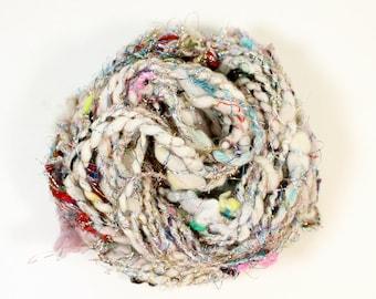 disco 2  .. hand spun art yarn, wool yarn, handspun, soft rainbow knitting wool, weaving, crochet supply