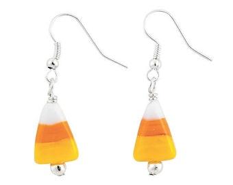 Candy Corn Lampwork Earrings