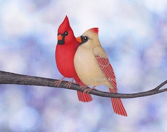 northern cardinals (bokeh) - signed art print 8X10 inches by Sarah Knight, red beige birds white periwinkle blue