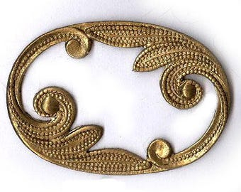 TWO vintage TEXTURED brass stamping curvy oval shape art nouveau style brass connector antique fancy finding