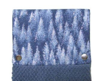 Towel, Hanging towel, Hand towel, Snap on towel, Kitchen, bathroom, oven, guest towel, camper,  100% cotton, Ice Forest on Heather blue
