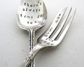 Mismatched Cutlery Set, Time for Tea, Room for Cake, Handstamped Teaspoon and Cakefork, Hand Stamped Vintage Tea Spoon and Cake Fork