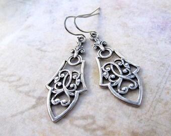 Silver dangle drop earrings Boho earrings everyday silver jewelry gift for her Gothic earrings