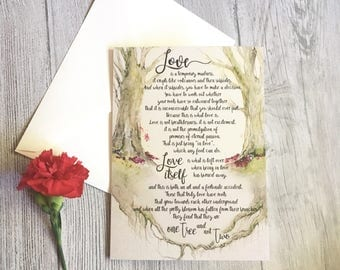 Love is a temporary madness wedding card