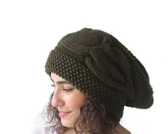 20% WINTER SALE Army Green Slouchy Hat with Pon Pon by Afra