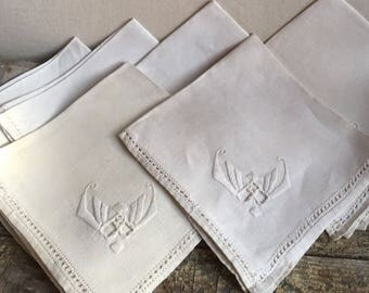 Vintage Linen Dinner Napkins, Set of Six, Cutwork and Embroidery
