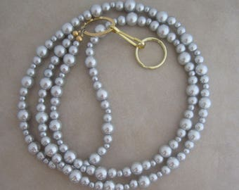 gray pearl gold lanyard badge ID holder