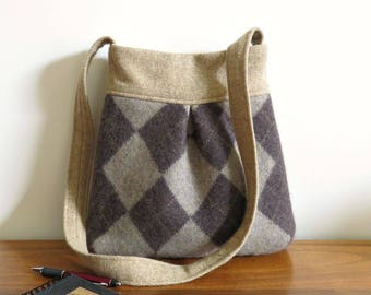 Brown and Tan Argyle BELLA Handbag, Upcycled Wool Sweater Purse, Shoulder Bag