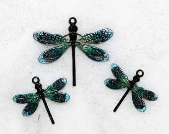 Hand stained and sealed dragonfly trio by joycelo