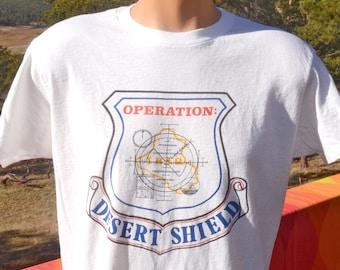 vintage 1990 t-shirt operation DESERT SHIELD gulf war air force iraq Large XL