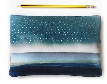 Zipper purse, pouch with zip, storm, raindrops, blue landscape, clouds, Scotland