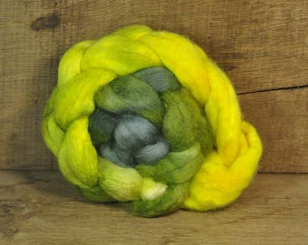 BFL Wool / Sparkly Nylon Top - 'Lime Gradient'