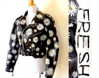 SUMMER SALE/ 30% off Vintage 80s 90s Petal to the Metal Cropped Black Leather Motorcycle with Hand Painted Daisies (size small, medium)