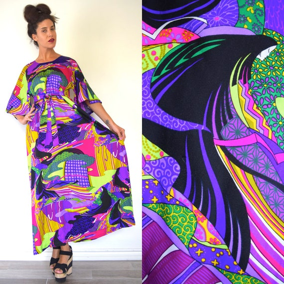 SUMMER SALE/ 30% off Vintage 70s Psychedelic Geisha Novelty Print Flutter Sleeve Maxi Dress