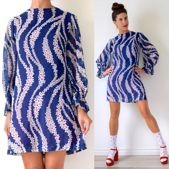Vintage 60s Navy Blue White and Red Cascading Flower Power Print Balloon Sleeve Mod Mini Dress (size small, medium)