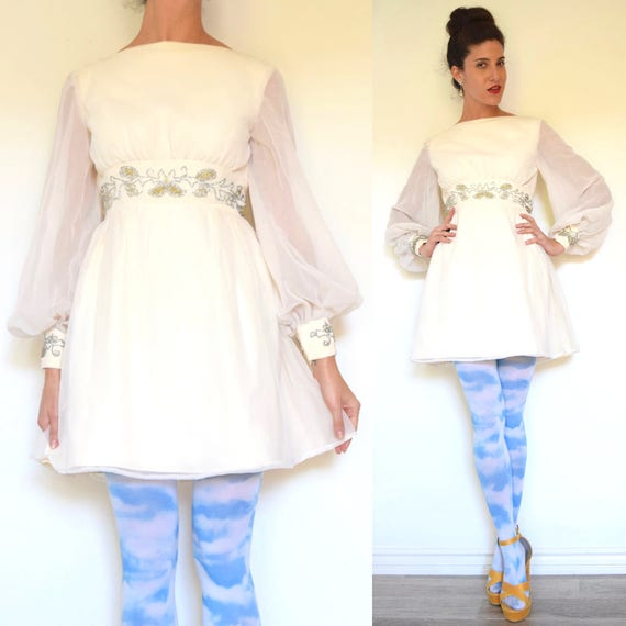 Vintage 60s Vanilla Chiffon Beaded Empire Waist and Cuffs Balloon Sleeved Party Dress (size xs, small)