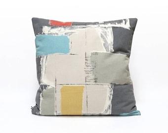 Mid Century Pillow Cover, Color Block Throw Pillow, Modern Cushion Cover, Sofa Throw, Retro Pillow Case, Modern Home Decor by EllaOsix