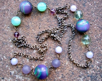 Eco-Friendly Statement Necklace - Approaching Wonderland - Recycled Vintage Distressed Brass Chain and Beads in Shades of Purple and Green