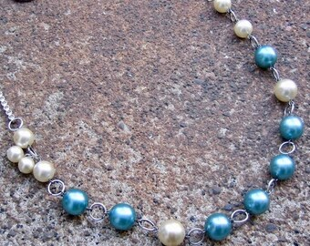 Eco-Friendly Statement Necklace - C'est La Vie - Recycled Vintage Silvertone Box Chain and Glass Pearls in Creamy White and Dusky Sky Blue