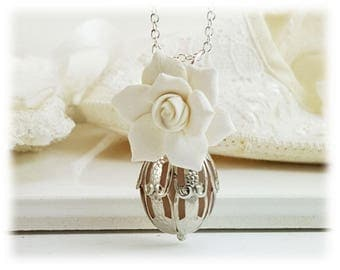Scented Gardenia Necklace -  Gardenia Perfume Jewelry, Fragrance Necklace