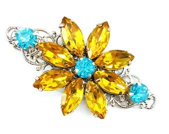 Yellow Flower Rhinestone Hair Clip - Yellow Daisy Hair Clip, Yellow Rhinestone Hair Clip, Yellow Crystal Clip, Yellow Hair Accessories Prom